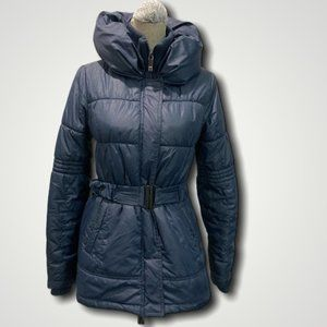 Only Navy Blue Puffer Belted Coat
